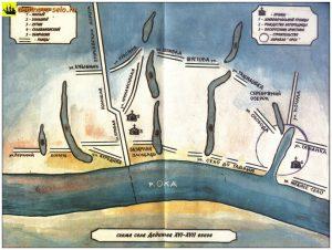 Старинная схема села из книги А.А.Шаблин, С.А.Кочетков «Дединово-село морское»